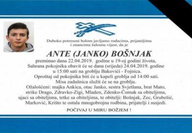 SREDNJA BOSNA ZAVIJENA U CRNO: Sutra sahrana Ante Bošnjaka 19-ogodišnjaka koji je preminuo od ozljeda zadobivenih u prometnoj nesreći