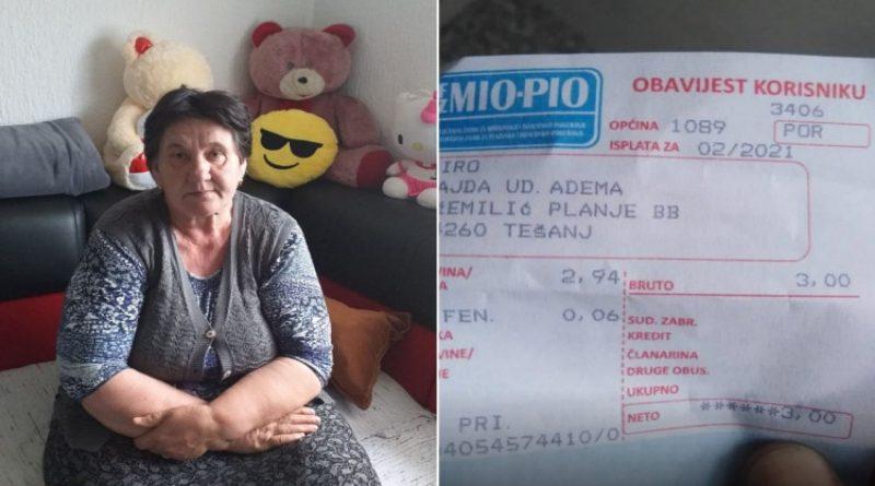 Sajda Piro, nana koja prima penziju od tri KM: Da mi nema sina, prosila bih